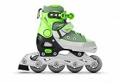pic of inline skating  - Green roller skate side view isolated on white background - JPG
