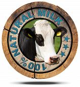 stock photo of cow head  - Wooden round icon or symbol with head of cow and text 100  - JPG