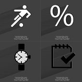 foto of tasks  - Silhouette of football player Percent sign Wrist watch Task completed icon - JPG