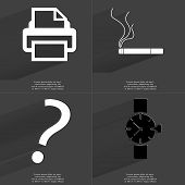 stock photo of wrist  - Printer Cigarette Question mark Wrist watch - JPG