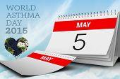 stock photo of asthma  - world asthma day against blue sky - JPG