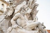 image of poseidon  - Rome Italy Particulars of the ancient Navona square in Rome by architect and artist Borromini - JPG