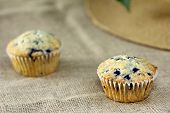 foto of sackcloth  - muffin on burlap sackcloth homemade dessert breakfast health food