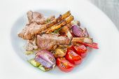 picture of lamb chops  - Traditional Roasted lamb chops with grilled vegetables - JPG