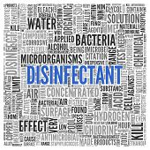 image of disinfection  - Close up DISINFECTANT Text at the Center of Word Tag Cloud on White Background - JPG