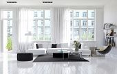 Large spacious modern white living room interior with a white parquet floor below large windows and  poster