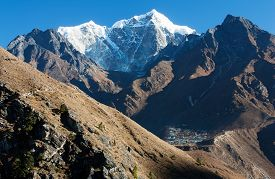 picture of chola  - View of Portse village mount cholatse and Tabuche peak  - JPG