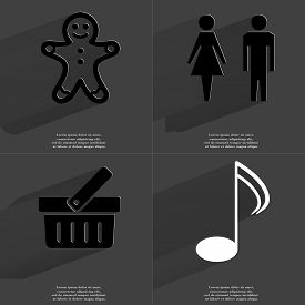 pic of gingerbread man  - Gingerbread man Silhouette of man and woman Basket Note sign - JPG