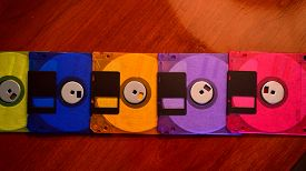 picture of outdated  - Panoramic of colorful but outdated floppy disks - JPG
