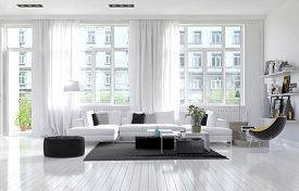 picture of 3d  - Large spacious modern white living room interior with a white parquet floor below large windows and a lounge suite arranged in a cozy corner - JPG