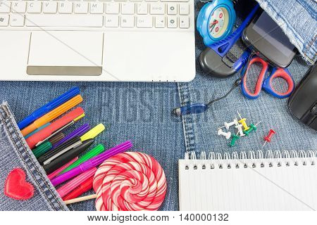 Creative Learning Objects On Jeans For New School Year