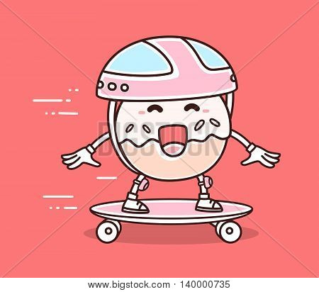 Vector illustration of bright color smile donut in helmet riding skateboard on red background. Skateboarding cartoon donut concept. Doodle style. Thin line art flat design of character donut for sport skateboard theme