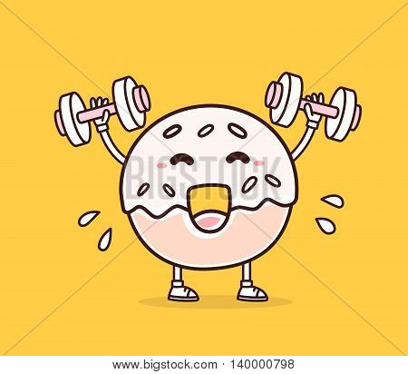Vector illustration of bright color smile donut lifts dumbbells on yellow background. Fitness cartoon donut concept. Doodle style. Thin line art flat design of character donut for sport lose weight fitness theme