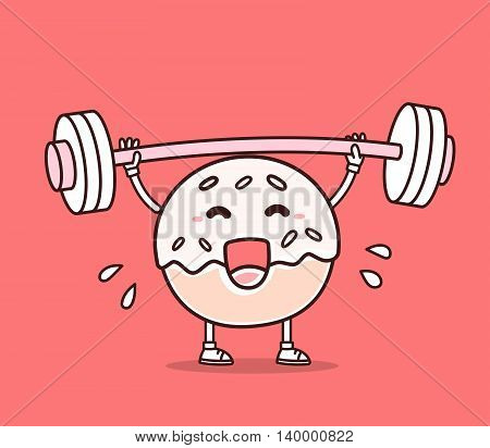 Vector illustration of bright color donut with barbell lifting weights on red background. Exercising cartoon donut concept. Doodle style. Thin line art flat design of character donut for sport lose weight fitness theme