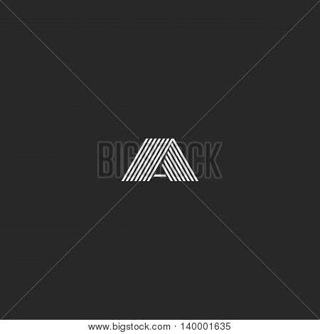 Logo A Letter Monogram, Hipster Black And White Template Business Card Emblem First Symbol Alphabet