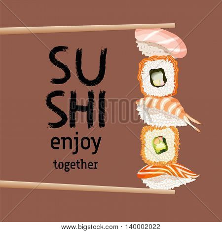 Japanese chopsticks holding maxi sushi pieces and rolls. Sushi lettering. Japanese traditional cuisine poster. Sushi bar or restaurant advertising concept banner. Vector illustration stock vector.