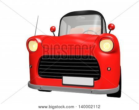 3D red toy car with black roof isolated on white background. 3D illustration.
