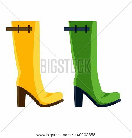 cartoon set of yellow and green rubber boots with heels, vector design for custom interface, vector icon, vector illustration