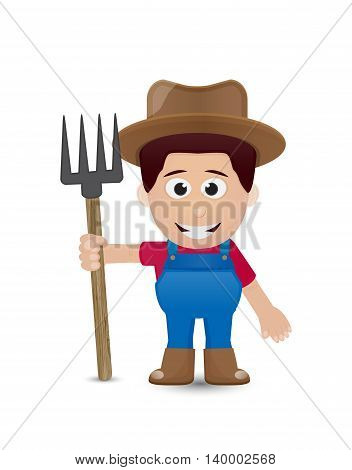 farmer character with brown hat and tool