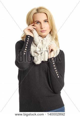 Portrait Of Woman On White Background Wearing Scarf