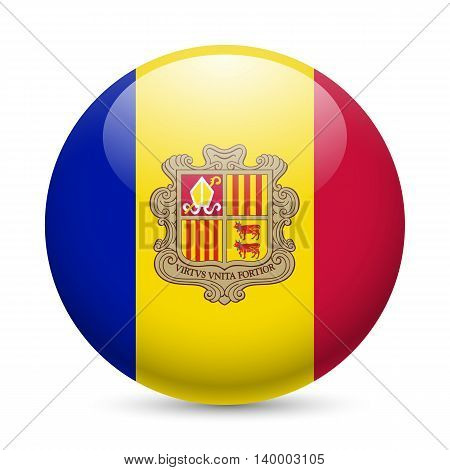 Flag of Andorra as round glossy icon. Button with Andorran flag