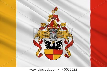 Flag of Hildesheim is a district in Lower Saxony Germany. 3d illustration