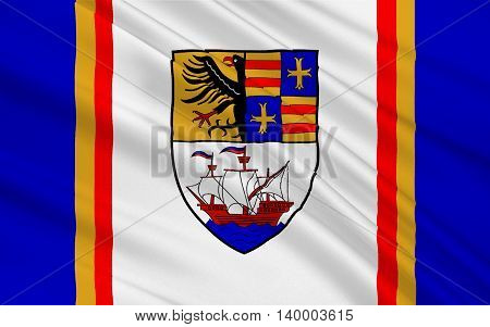 Flag of Brake is the district seat of Wesermarsch district in northern Germany. 3d illustration