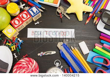 Creative Learning Objects On Wooden Table