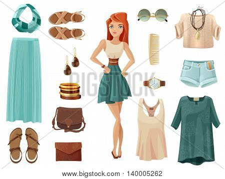 Fashion woman set of summer clothes shoes and accessory in pastel colors with girl in middle on white background cartoon isolated vector illustration