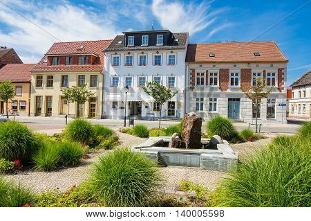 Buildings with blue sky in Loitz (Germany).