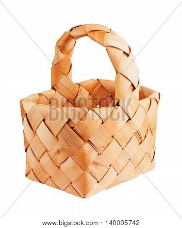 Wicker basket handmade isolated on white. Side view