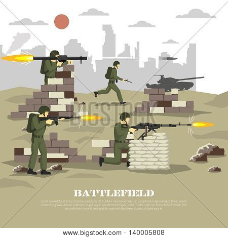 Military army war computer video game battlefield shooter personal cinematic experience flat poster print abstract vector illustration