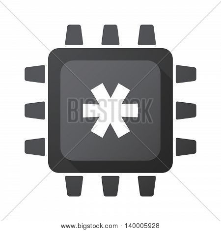 Isolated Cpu Chip Icon With An Asterisk