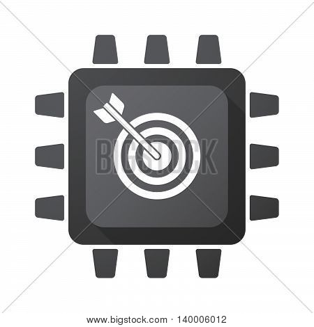 Isolated Cpu Chip Icon With A Dart Board