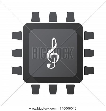 Isolated Cpu Chip Icon With A G Clef