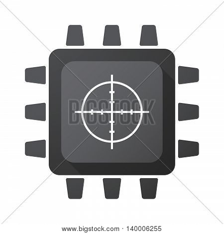 Isolated Cpu Chip Icon With A Crosshair