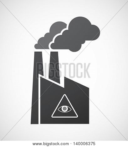 Isolated Factory Icon With An All Seeing Eye