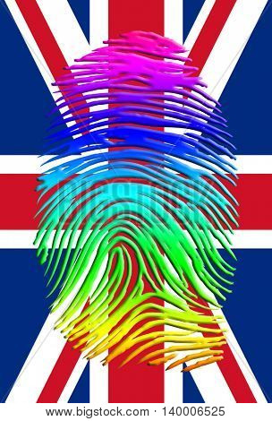Rainbow Pride UK Fingerprint 3D Render