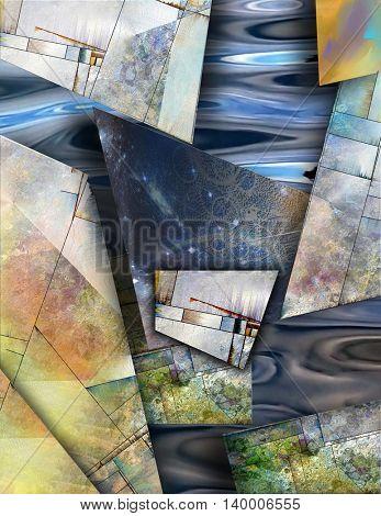 Abstract elements combine 3D Render