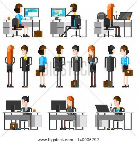 Office people flat cartoon icons set of young employees working at desk with pc monitor and talking to business partners isolated vector illustration
