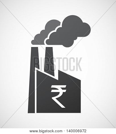 Isolated Factory Icon With A Rupee Sign