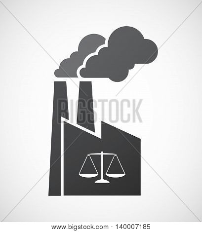 Isolated Factory Icon With A Justice Weight Scale Sign