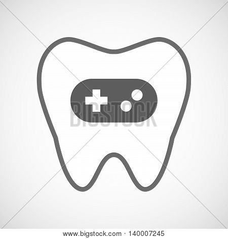 Isolated Line Art Tooth Icon With A Game Pad