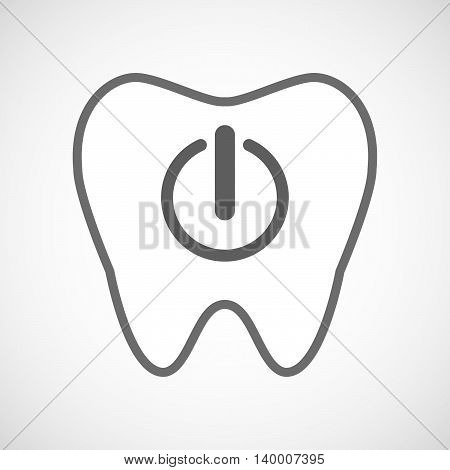 Isolated Line Art Tooth Icon With An Off Button