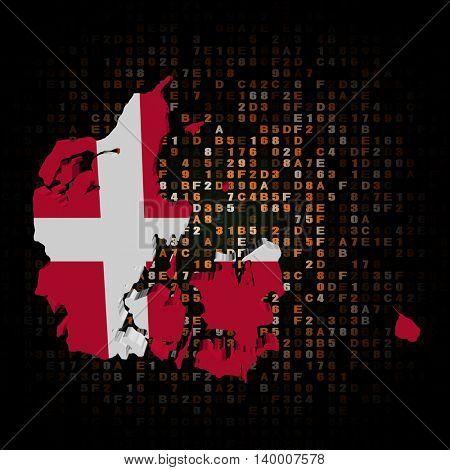 Denmark map flag on hex code 3d illustration