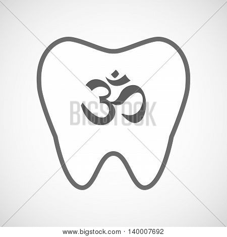 Isolated Line Art Tooth Icon With An Om Sign