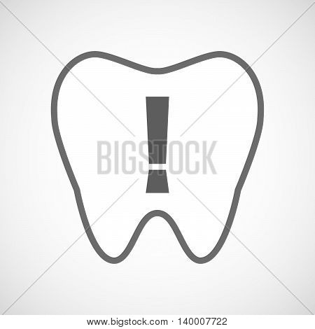 Isolated Line Art Tooth Icon With An Admiration Sign