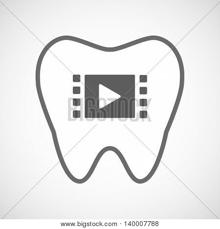 Isolated Line Art Tooth Icon With A Multimedia Sign