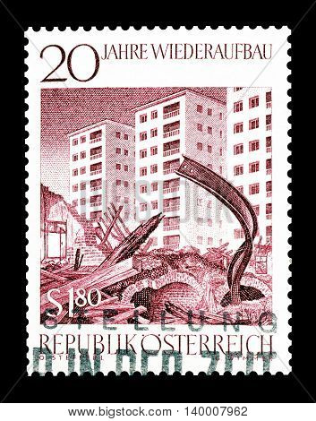 AUSTRIA - CIRCA 1965 : Cancelled postage stamp printed by Austria, that shows Ruins in front of new buildings.