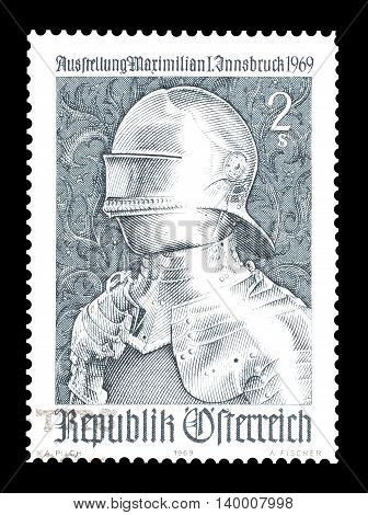 AUSTRIA - CIRCA 1969 : Cancelled postage stamp printed by Austria, that shows Gothic Armor.